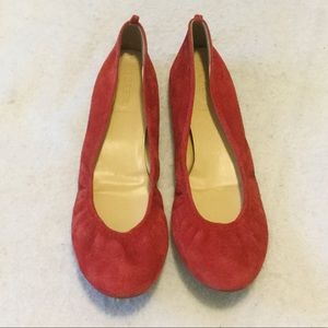 J. Crew Red Suede Leather Ballet Flats